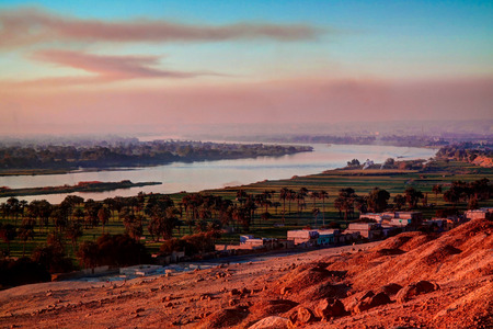 Sunset panorama view to Nile river from Beni Hasan archaeological site at Minya , Egypt