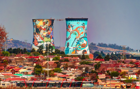 Former powerplant, cooling tower, now is tower for BASE jumping - 25-08-2013, johannesburg. South Africa Editorial