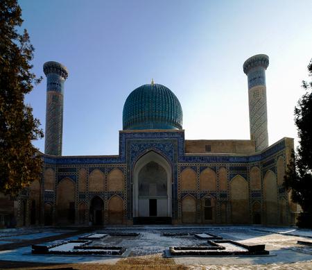 Exterior view to Gur-i Amir mousaleum, tomb of Tamerlan at Samarkand, Uzbekistan