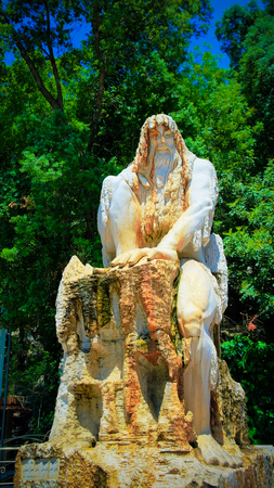 Guardian of Time statue sculpture by Lebanese artist Tony Farah at Jeita Grotto, Lebanon