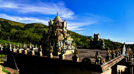 Panoramic view to Seetha Amman Hinde temple at Nuwara Eliya, Sri Lanka