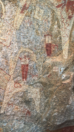 Cave paintings and petroglyphs Laas Geel near Hargeisa, closeup, Somalia Editorial