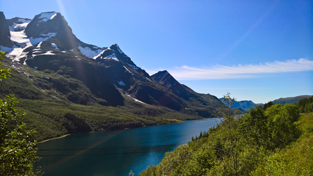 Panorama view to Nordfjorden and Svartisen glacier at Meloy, Norway