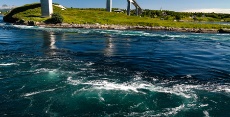 close-up View to sea inflow Saltstraumen whirlpools, Norway