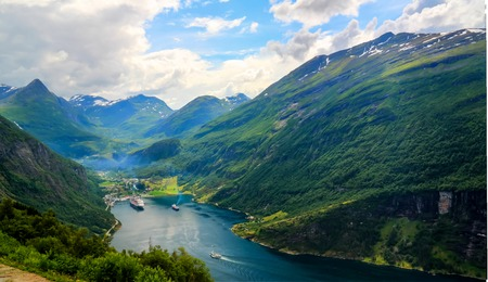 Aerial panorama view to Geiranger fjord from Trollstigen at Norway Stock Photo
