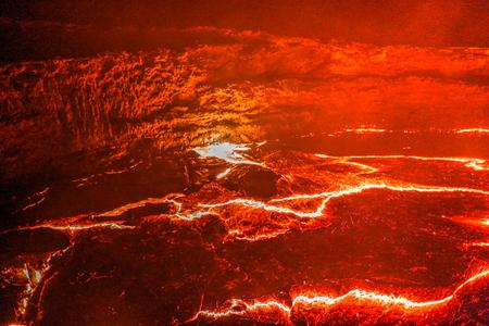 Panorama of Erta Ale volcano crater, melting lava, Danakil depression, Ethiopia