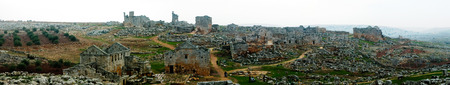 Panorama of ruined abandoned dead city Serjilla, Syria