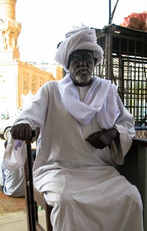 Portrait of the old man with national clothes jellabiya at the Khartoum street - 07 february 2011 Khartoum Sudan