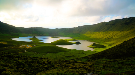 Landscape sunset view to Caldeirao crater at Corvo island, Azores, Portugal