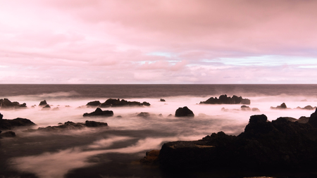 Seashore of the bay of Pombas aka Doves in Long exposure and Slow shutter speed at Biscoitos at Terceira island, Azores, Portugal