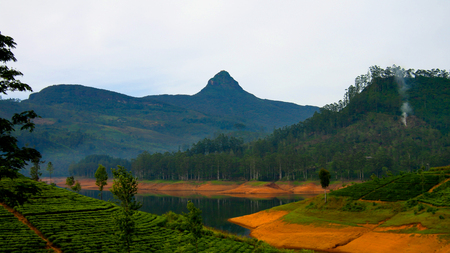 Panoramic view to Sri Pada peak and lake with tea plantation at Nuwara Eliya, Sri Lanka