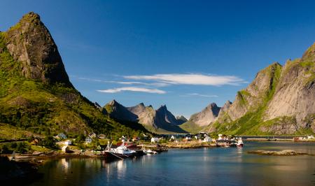 Panoramic view to Reine village and Gravdalsbukta at Lofoten, Norway Stock Photo