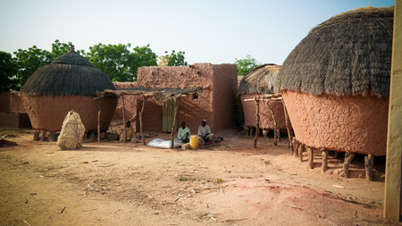 Panoramic view to Bkonni village of Hausa people near Tahoua, Niger Stock Photo
