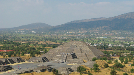 Aerial panoramic view to Pyramid of the Moon at Teotihuacan, Mexico