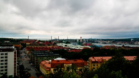 Panorama aerial view to Goteborg from Masthugg church viewpoint - 30 July 2017 Goteburg, Sweden