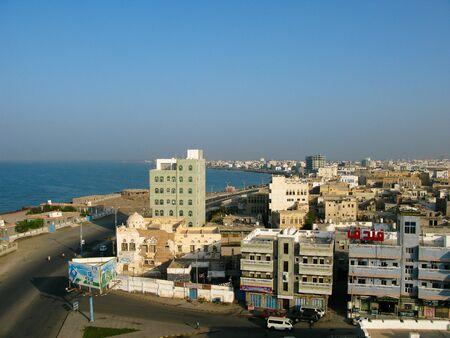 Aerial cityscape view to Hudaydah city - 06 november 2009 Yemen 에디토리얼