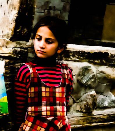Portrait of Hunza woman in national costume - 09-05-2015 Karimabad Pakistan