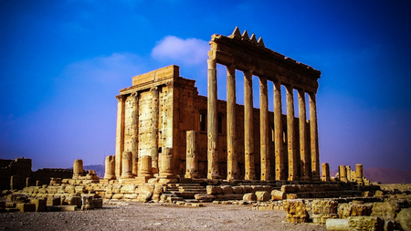 Destroyed temple of Baal in Palmyra, Syria. Eliminated by ISIS now. Imagens