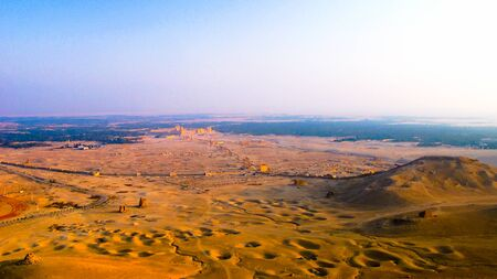 Aerial Panorama of Palmyra columns and ancient city in Syria 에디토리얼