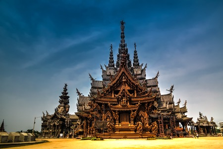 Exterior view of Sanctuary of Truth in Pattaya, Thailand