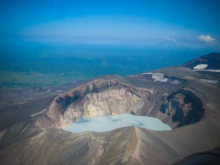 Aerial view to Maly Semyachik volcano at Kamchatka peninsula, Russia
