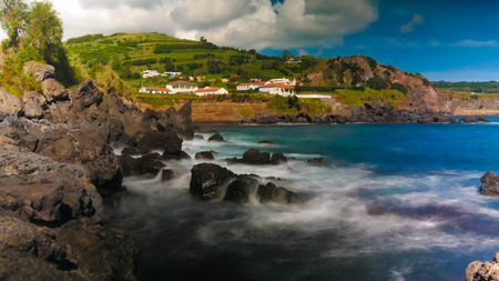 Landscape of Praia do Almoxarife beach at long shutter speed in Horta, Faial island, Azores, portugal