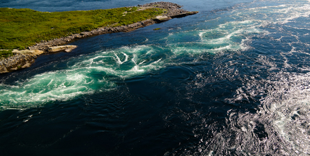 View to sea inflow Saltstraumen whirlpools, Norway