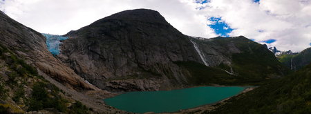 Panoramic view to Briksdal Glacier, Norway