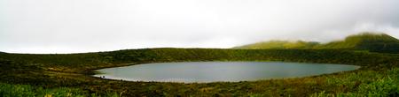 Panoramic view to Caldeira Rasa lake at Flores island, Azores. Portugal