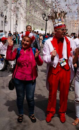 Polish and Peruvian Football fans at Nikolskaya Street in Moscow at FIFA football world cup - 21 June 2018, Moscow, Russia