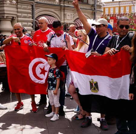 Tunisian and Egyptian Football fans at Nikolskaya Street in Moscow at FIFA football world cup - 21 June 2018, Moscow, Russia 에디토리얼