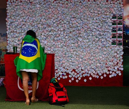 Brazilian Football fans in the FIFA fan fest at Sparrow Hills aka Vorobyovy Gory in Moscow at FIFA football world cup - 26 June 2018, Moscow, Russia 에디토리얼