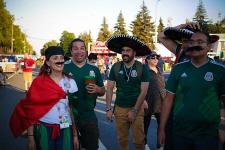 Mexican Football fans in the FIFA fan fest at Sparrow Hills aka Vorobyovy Gory in Moscow at FIFA football world cup - 27 June 2018, Moscow, Russia 에디토리얼