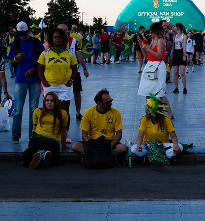 Brazilian Football fans in the FIFA fan fest at Sparrow Hills aka Vorobyovy Gory in Moscow at FIFA football world cup - 27 June 2018, Moscow, Russia