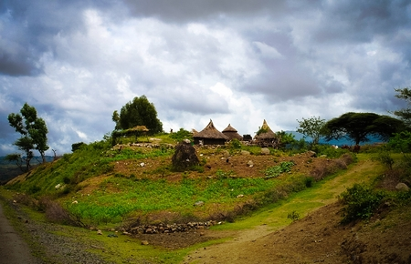 Traditional Konso tribe village in Karat Konso in Ethiopia Stock Photo