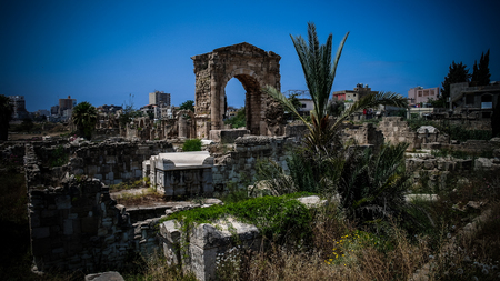 Remains of necropolis and Arch in ancient columns excavation site in Tyre, Lebanon