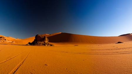 Sunrise view to Tin Merzouga dune at Tassili nAjjer national park, Algeria