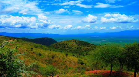 Aerial panoramic view to Stephanie Wildlife Sanctuary and weito valley at Karat Konso, Ethiopia