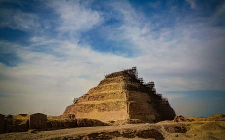 Exterior view to step pyramid of Zoser at Saqqara, Egypt Reklamní fotografie