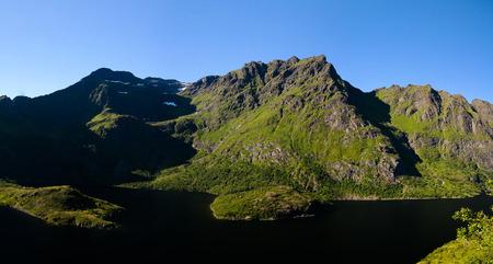 Landscape with Agvatnet lake near A village at Moskenesoya, Lofoten, Norway