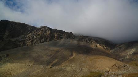 Panoramic view to Barskoon pass, river and gorge and Sarymoynak pass at Jeti-Oguz, Kyrgyzstan