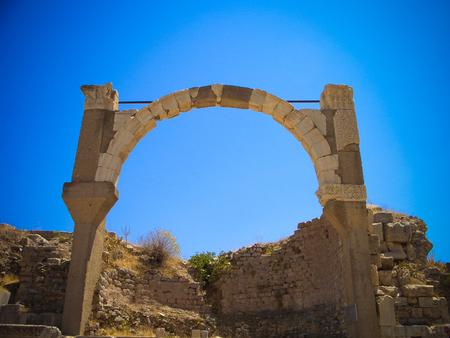 Panoramic view to Ephesus ruin arch in Turkey Stock Photo