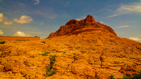 Panoramic landscape view to sahel and oasis at Dogondoutchi, Niger Stock Photo