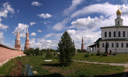 View to The Cathedral Of The Epiphany and the wall with towers in Epiphany Staro-Golutvin cloister in Kolomna, Moscow region, Russia