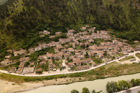 Panoramic aerial view to Berat old town and Osum river from Berat Castle in Albania Stock Photo