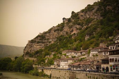 Panoramic view to Berat old town and Kisha e Shen Mehillit aka St. Michael church in Berat, Albania Editorial