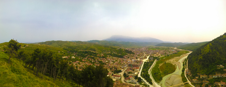 Panoramic aerial view to Berat old town and Osum river from Berat Castle in Albania Editorial