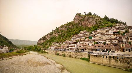 Panoramic view to Berat old town and Kisha e Shen Mehillit aka St. Michael church in Berat, Albania Stock Photo