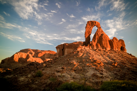 Abstract Rock formation at plateau Ennedi aka window arch at sunrise, in Chad Stockfoto