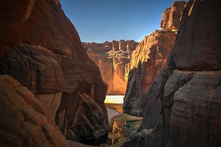 Panorama inside canyon aka Guelta d'Archei, East Ennedi, Chad Stockfoto